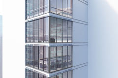 White skyscraper exterior, corner. Corner of an exterior of a white skyscraper with large windows and a gigantic posters by their sides. 3d rendering, mock up Royalty Free Stock Photos