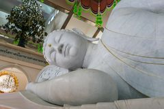The sleeping Buddha. The white sleeping Buddha in temple Thailand,travel temple Thailand and Beautiful temple Stock Images