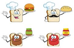 White Sliced Bread Cartoon Mascot Character 3. Collection royalty free illustration