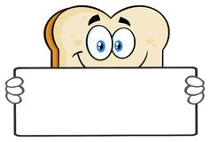 White Sliced Bread Cartoon Mascot Character Holding A Blank Sign stock illustration