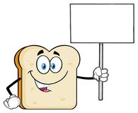 White Sliced Bread Cartoon Mascot Character Holding A Blank Sign royalty free illustration