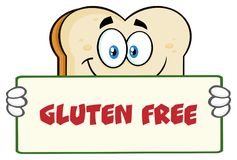White Sliced Bread Cartoon Mascot Character Holding A Sign royalty free illustration