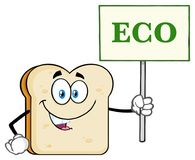 White Sliced Bread Cartoon Mascot Character Holding A Sign With Text Eco royalty free illustration
