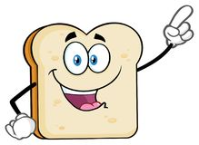 White Sliced Bread Cartoon Mascot Character Pointing. Illustration Isolated On White Background stock illustration