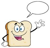 White Sliced Bread Cartoon Mascot Character Waving For Greeting With Speech Bubble stock illustration