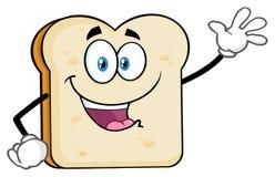 White Sliced Bread Cartoon Mascot Character Waving For Greeting vector illustration