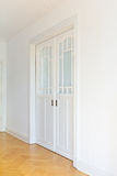 White sliding doors side perspective stock photo
