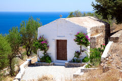 White small chapel in Lindos.Rhodes islan Stock Image