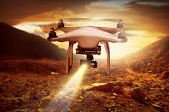 White small drone flying. With nature background Royalty Free Stock Image