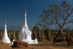 White small  pagodas in ancient temple. Royalty Free Stock Photography