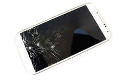White smart phone broken on white background. Closeup broken touch sceen of white smart phone. On white background royalty free stock photos