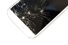 White smart phone broken on white isolate background. stock image