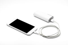 White smart phone charger with power bank (battery bank) Stock Images