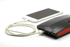 White smart phone charger with power bank (battery bank) Stock Photo