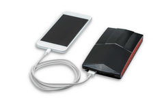 White smart phone charger with power bank (battery bank) Stock Photos