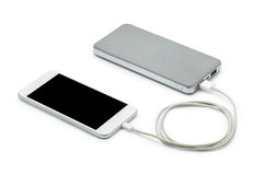 White smart phone charger with power bank (battery bank) Stock Photography
