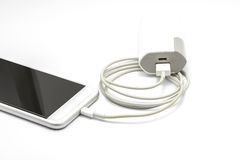 White smart phone charger with power bank (battery bank) Royalty Free Stock Image
