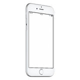 White smart phone mockup slightly CCW rotated with blank screen Stock Photography