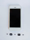 A white smart phone, sim card tray and small paper simulated as Royalty Free Stock Photography