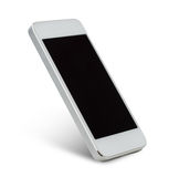 White smarthphone with blank black screen Royalty Free Stock Photography