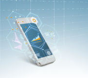 White smarthphone with growing chart on screen Royalty Free Stock Photos