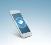 White smarthphone with message icon on screen Stock Image