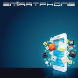 White Smartphone with App Icons. Vector Background Royalty Free Stock Photo