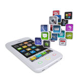 White smartphone with application icons Royalty Free Stock Photos