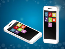 White smartphone with application icons Stock Images