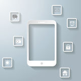 White Smartphone With Apps Infographic PiAd Royalty Free Stock Photos
