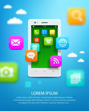 White smartphone with cloud of application icons Stock Photo