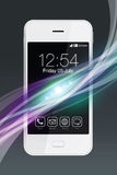 White smartphone with colorful wave effect. Royalty Free Stock Photo
