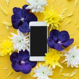 White smartphone with flower petal.flat lay design background. Top view Royalty Free Stock Images