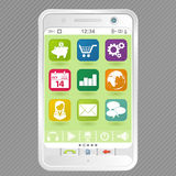 White Smartphone with Icons Stock Images
