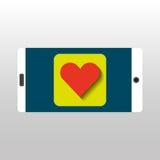 White smartphone love heart network digital Stock Image