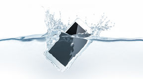 White smartphone mock up sinks in water, 3d rendering. Mobile smart phone with touch screen mockup fall under liquid surface. Electronic waterproof cellphone Royalty Free Stock Photo