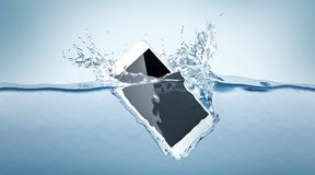 White smartphone mockup fall in water,. 3d rendering. Mobile smart phone with touch screen mockup sinks under liquid surface. Electronic waterproof cellphone Royalty Free Stock Images
