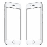 White smartphone mockup slightly rotated both sides. White mobile smartphone mockup. This mockup includes both sides of slightly rotated white smartphone with stock photography