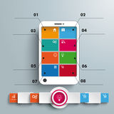 White Smartphone 8 Options Banner Infographic Stock Photos