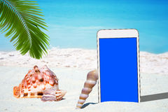 White Smartphone and Seashells Stock Images