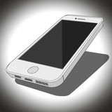 White smartphone. Vector of white smartphone with shadow Stock Photo