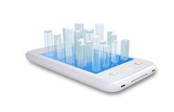 White smartphone with virtual cityscape Stock Photos