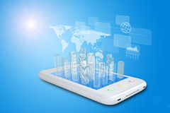 White smartphone with virtual cityscape Stock Photo