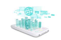 White smartphone with virtual cityscape Stock Images