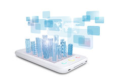White smartphone with virtual world map Stock Photo