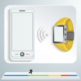 White smartphone and yellow smart watches Stock Photo