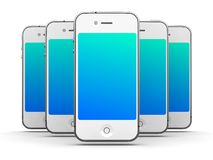 White Smartphones. Iphone - Like White Smartphones on White Background, 3D Render royalty free illustration