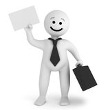 White smile character businessman with a briefcase Royalty Free Stock Photo