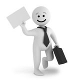 White smile character businessman with a briefcase. A funny white smile character businessman walk with a briefcase and a document Stock Photos