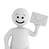 White smile character stay with mail Stock Photo